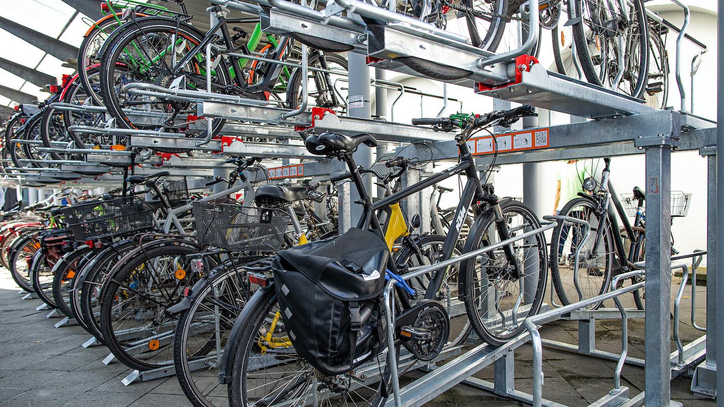 Fahrradständer an der Mobilstation in Hamm.