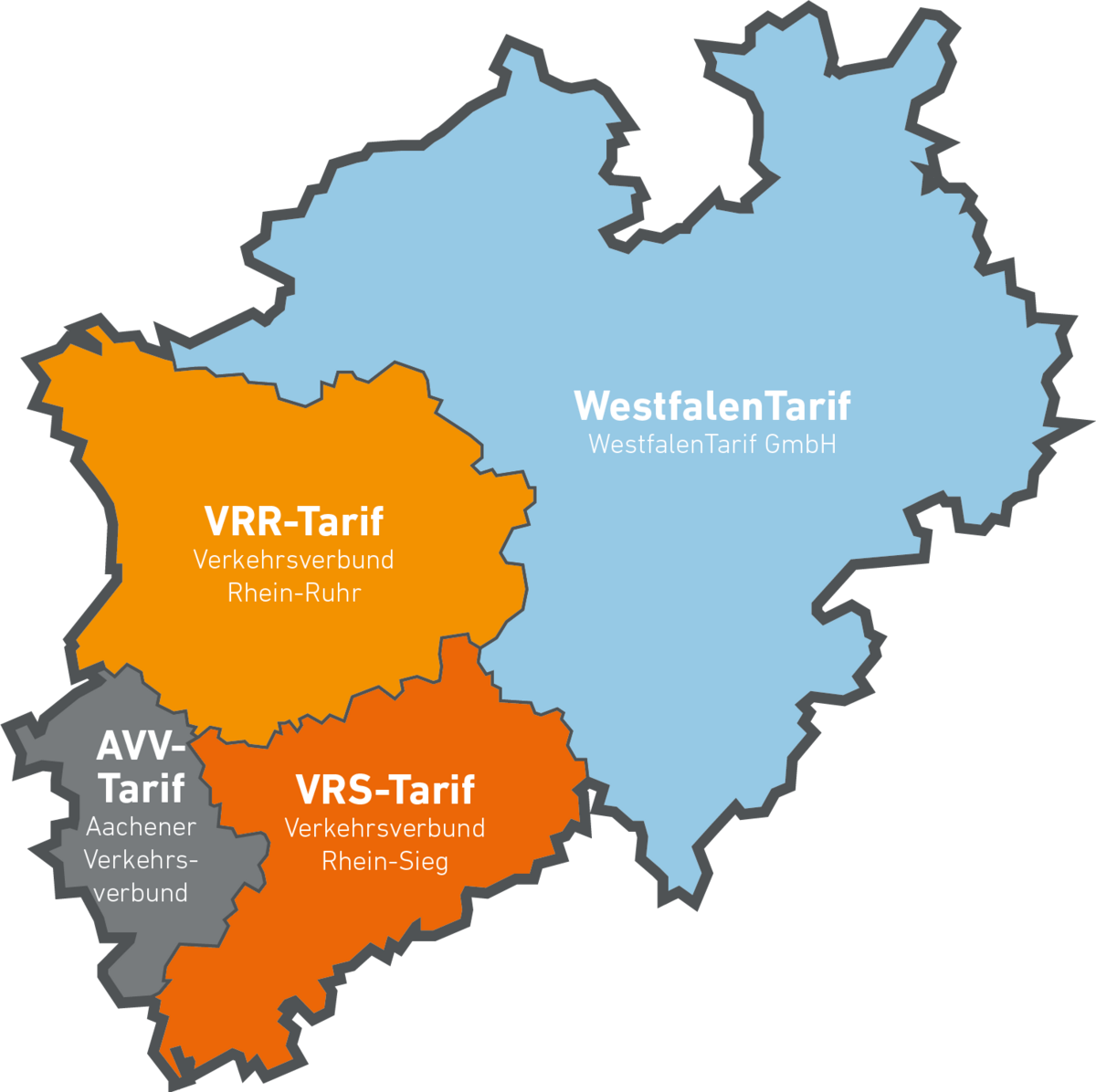 Eine Übersichtskarte der Tarifgebiete in NRW