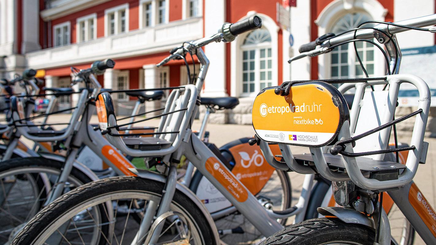 Leihräder an der Mobilstation in Hamm.
