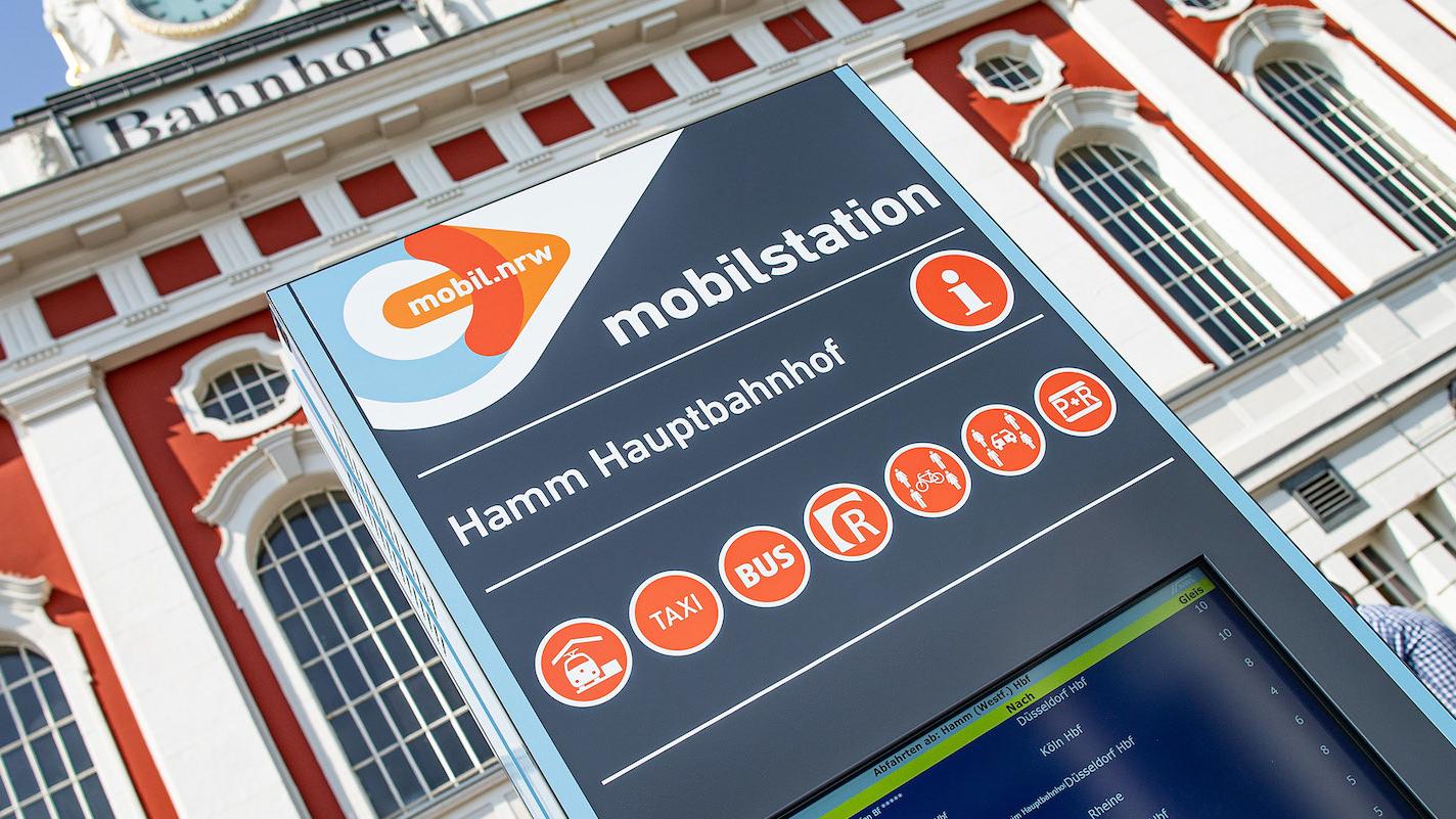 Die digitale Stele der Mobilstation in Hamm.