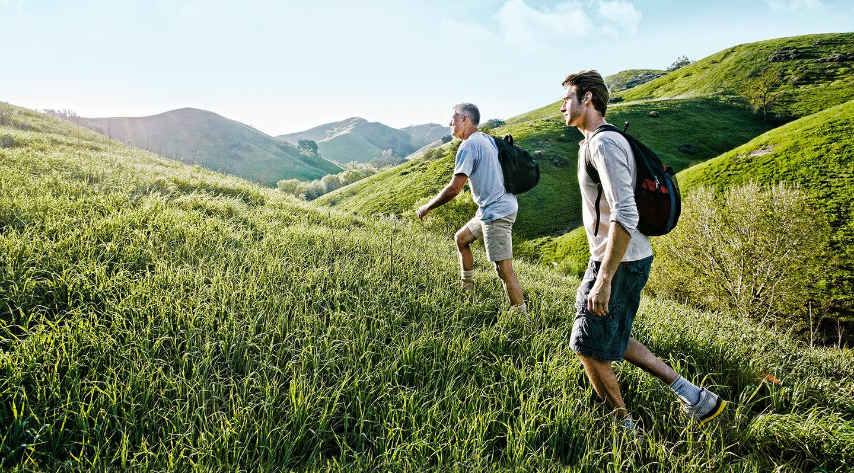 Ein jüngerer und ein älterer Mann wandern im Sommer von rechts nach links über eine hügelige Graslandschaft.