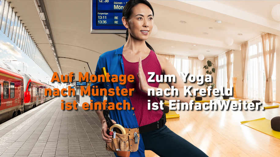 Ein zweigeteiltes Bild, links ist ein Bahnsteig mit einem roten Zug zu sehen, rechts ein Yogastudio, in der Mitte steht eine Frau. Auf dem Bild steht der Text: Auf Montage nach Münster ist einfach. Zum Yoga nach Krefeld ist EinfachWeiter.