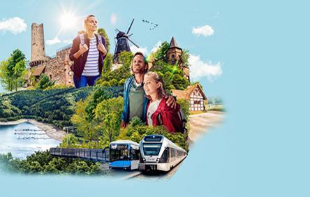 Eine Collage aus verschiedenen Sehenswürdigkeiten aus NRW und mehreren Wanderleuten.