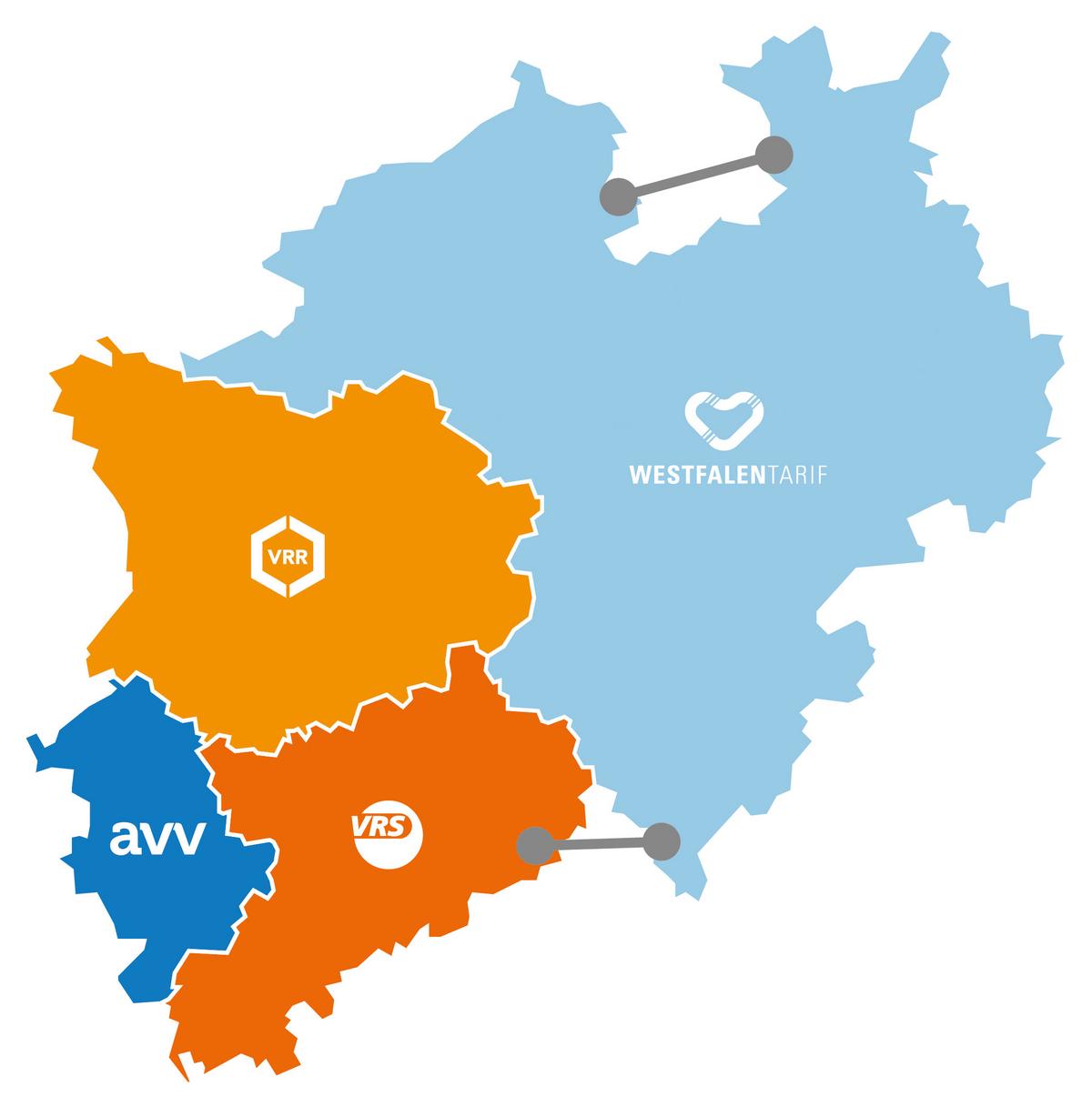 Karte von NRW, auf der in unterschiedlichen Farben die vier Verkehrsverbünde abgebildet sind.